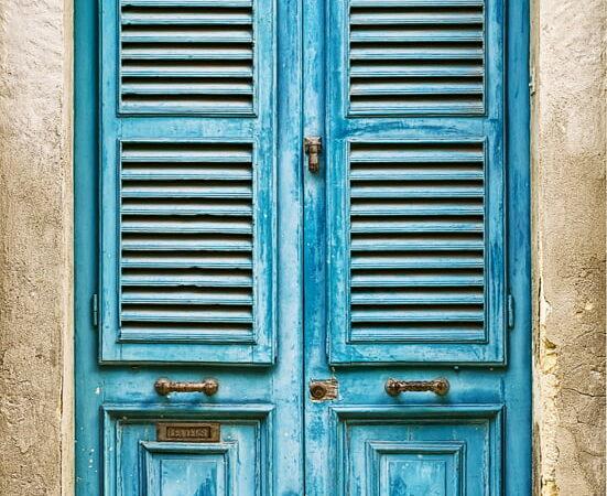 Blue Slatted Door